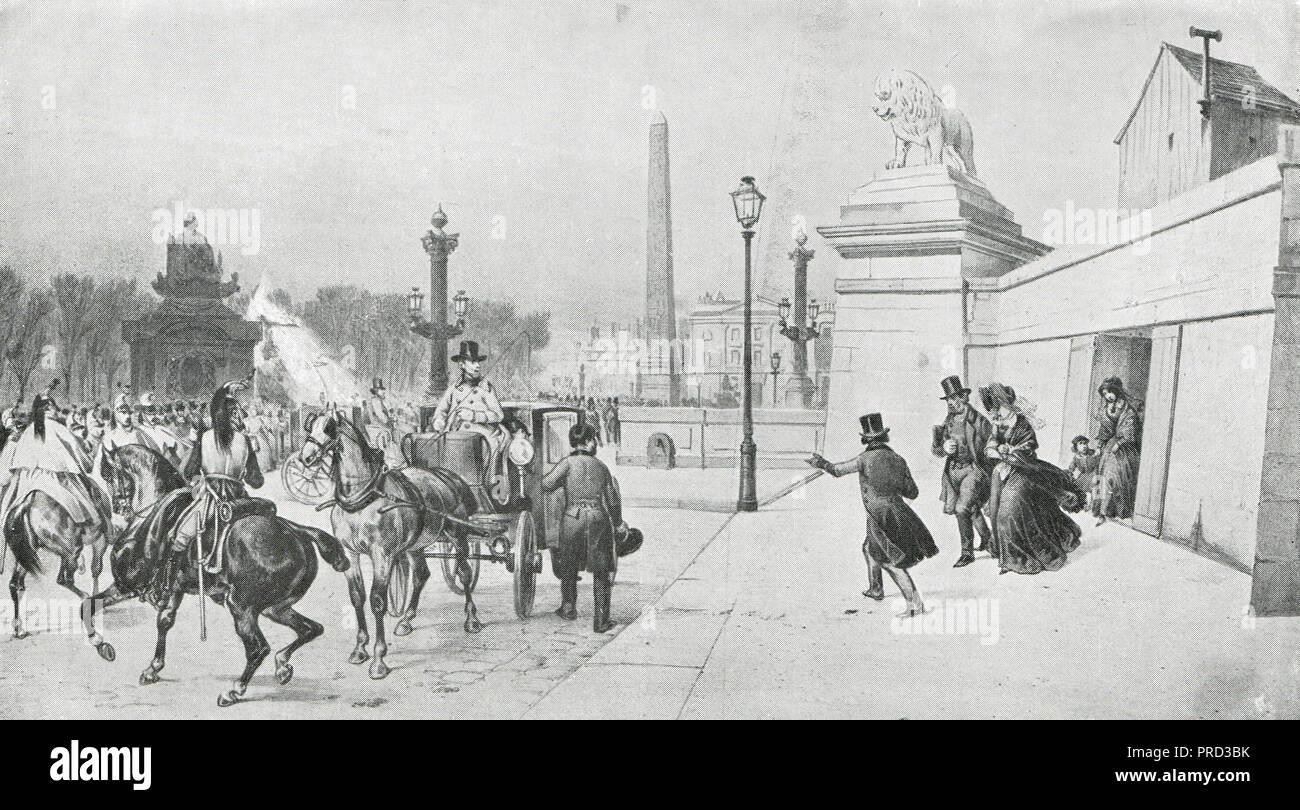 Vuelo del rey Louis Philippe de París, Francia, durante la Revolución Francesa de 1848 Foto de stock