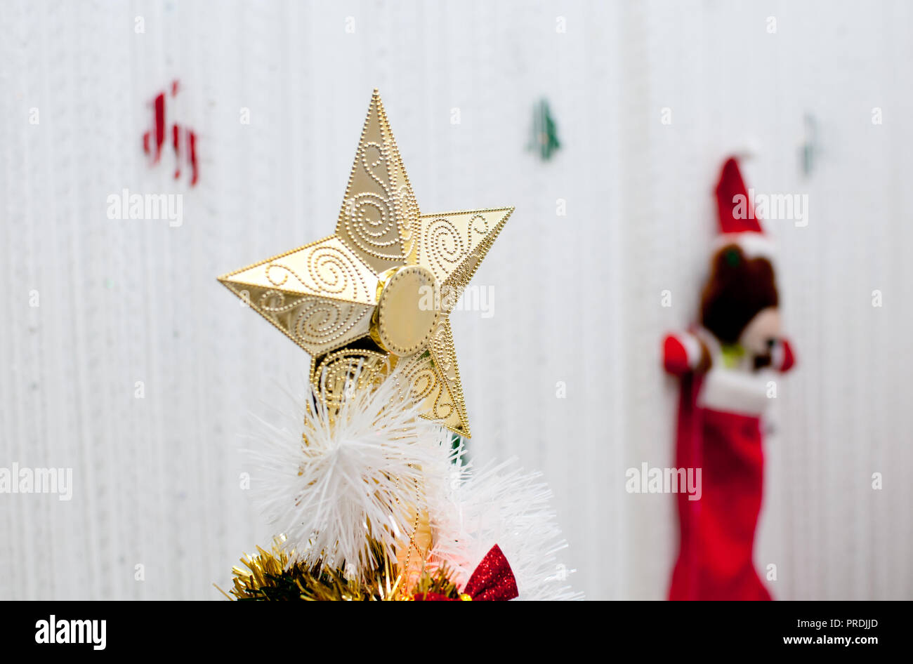 Como Decorar Calcetines Para Navidad.Golden Star Para Decorar El Arbol De Navidad De Cerca Y