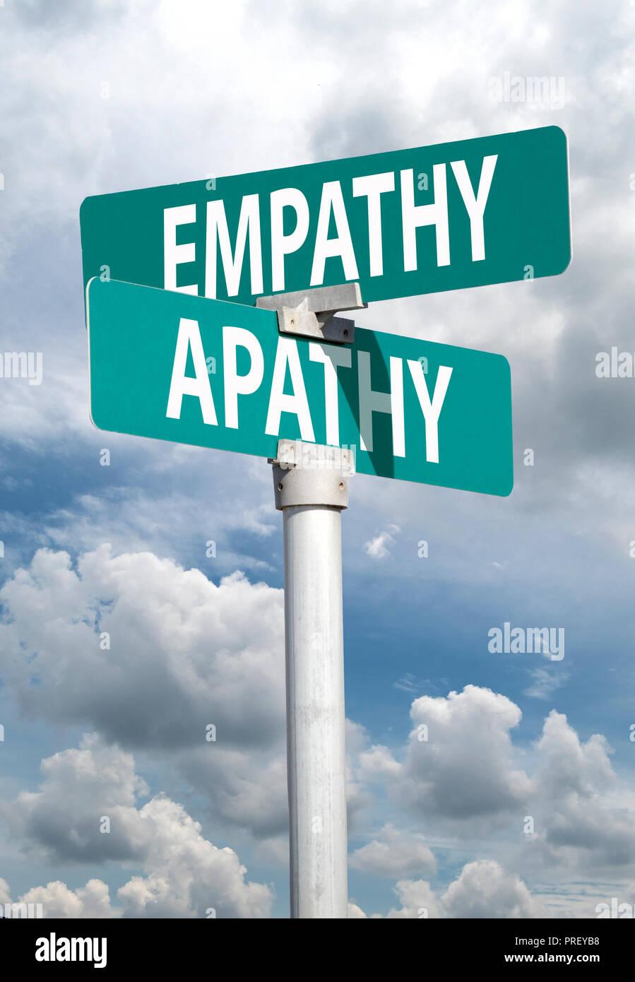 Empatía apatía signo Imagen De Stock