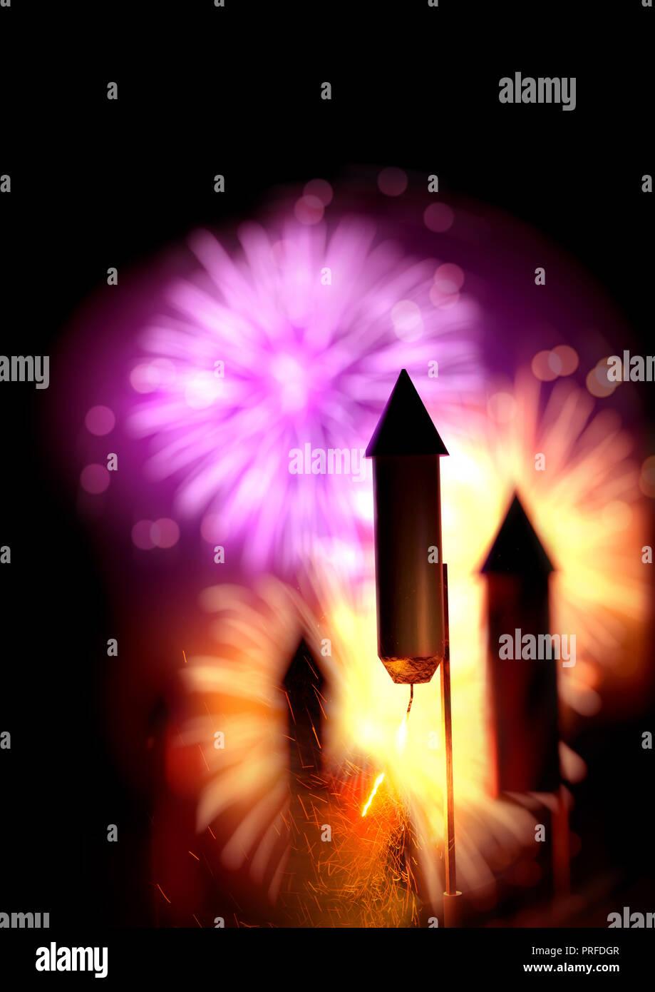 Cerrar imagen de cohetes con fuegos artificiales encendidos los fusibles y una pantalla grande en el fondo. Hoguera fondo nocturno - 3D ilustración. Foto de stock