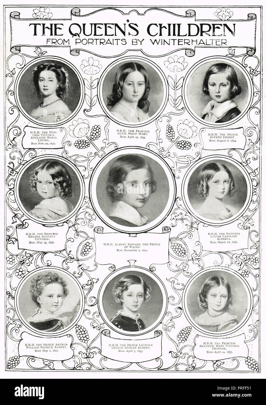 Los hijos de la Reina Victoria Imagen De Stock