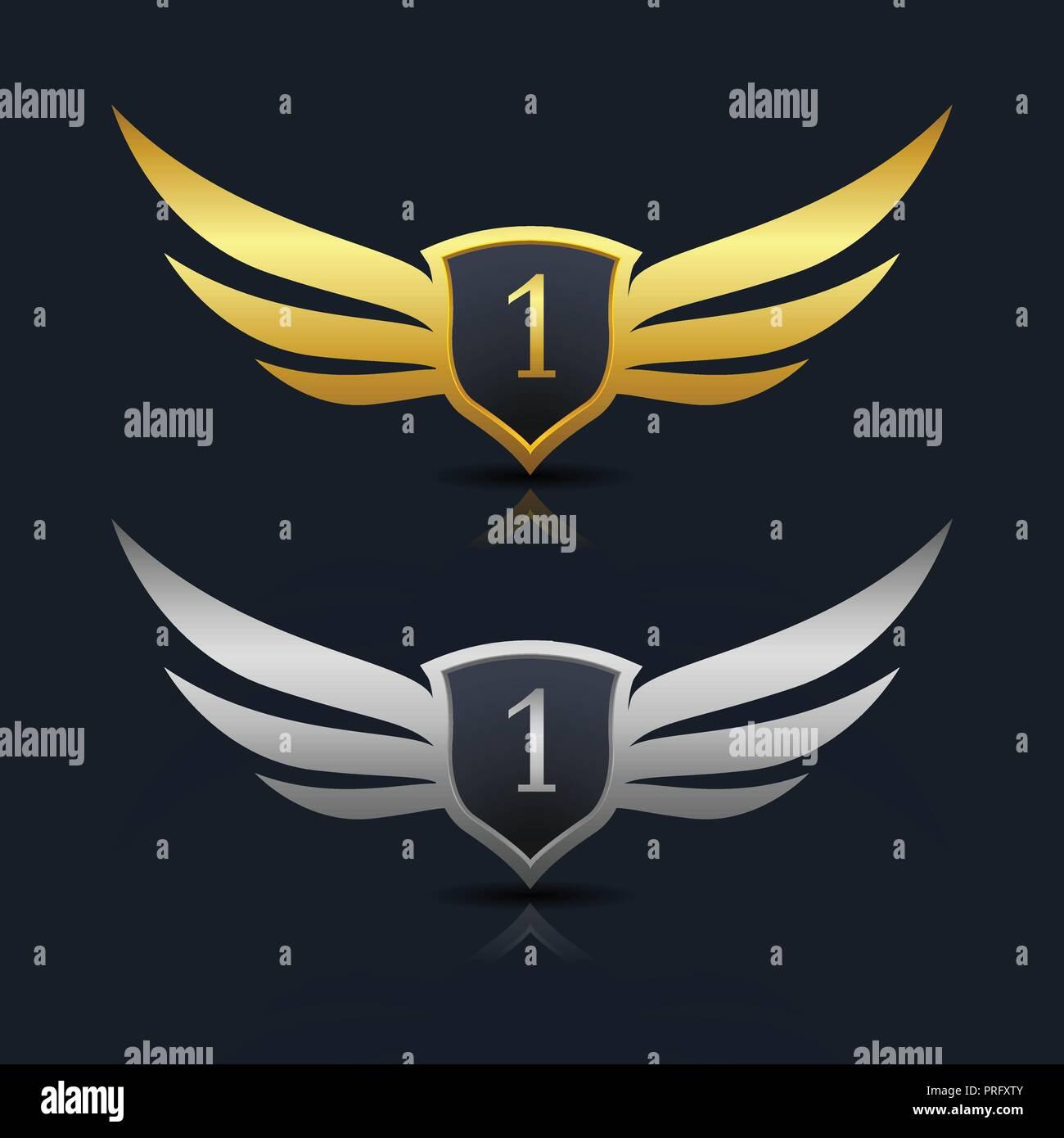 Escudo de alas número 1 Plantilla de logotipo Imagen De Stock