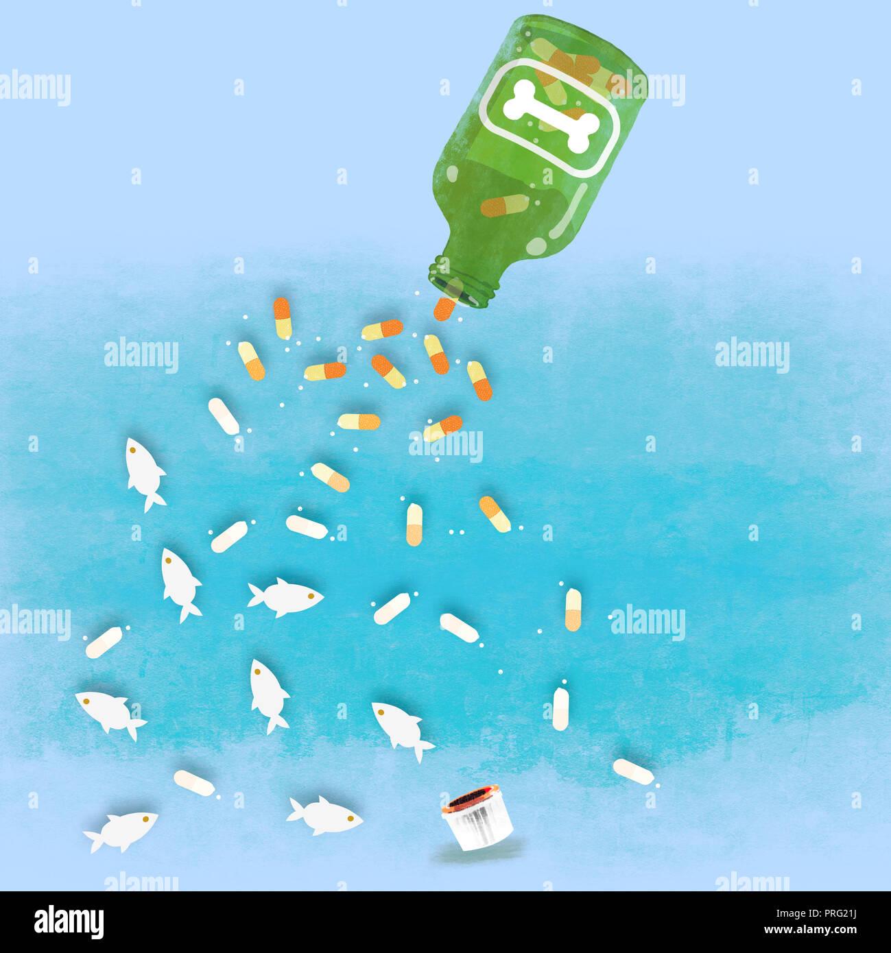 Botella con cápsulas de aceite de pescado Foto de stock