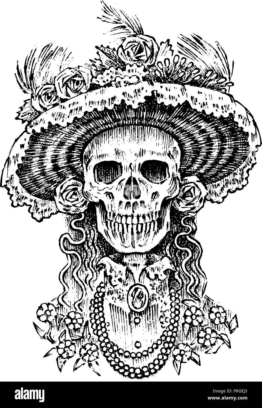 La Calavera Catrina. Mujer elegante esqueleto. El día de los muertos. Dia  de los Muertos en español. Fiesta nacional mexicana. 709470e5f9b