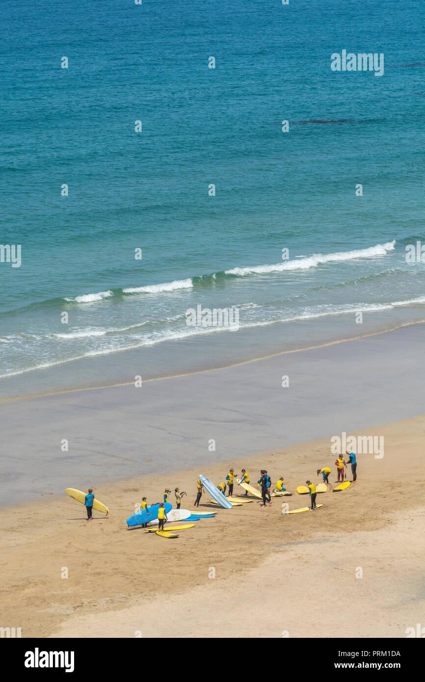 Reflejo del mundo de surf, tablas de surf, surf, surf y actividades / lifestyle en Newquay, Cornwall. Casa de Boardmasters. Foto de stock