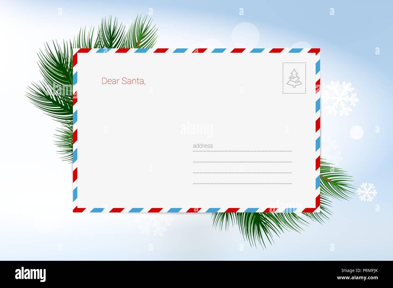 Presentaciones Feliz Navidad.Carta A Santa Claus Vector Plantilla De Tarjeta De