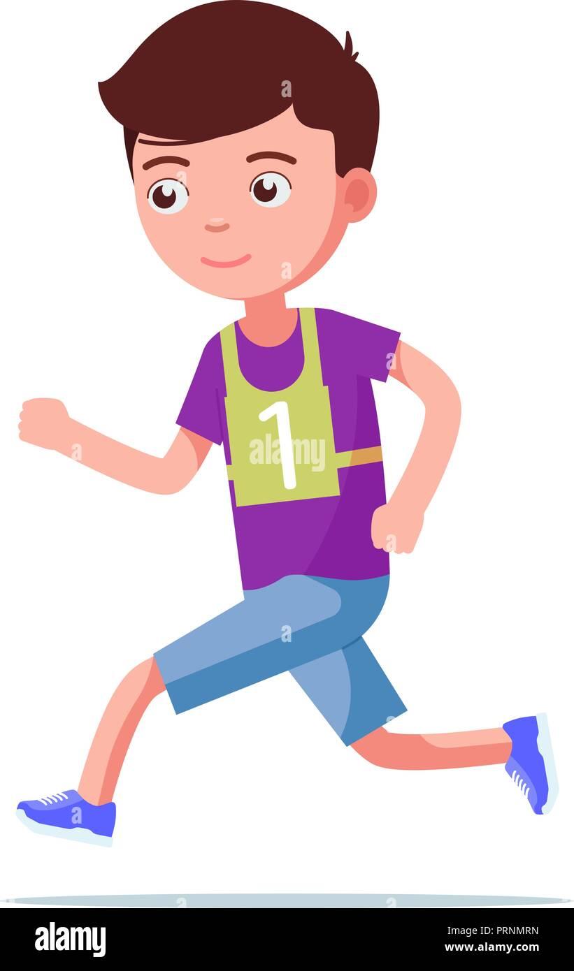Ilustracion Vectorial De Dibujos Animados Nino Corriendo Maraton Imagen Vector De Stock Alamy