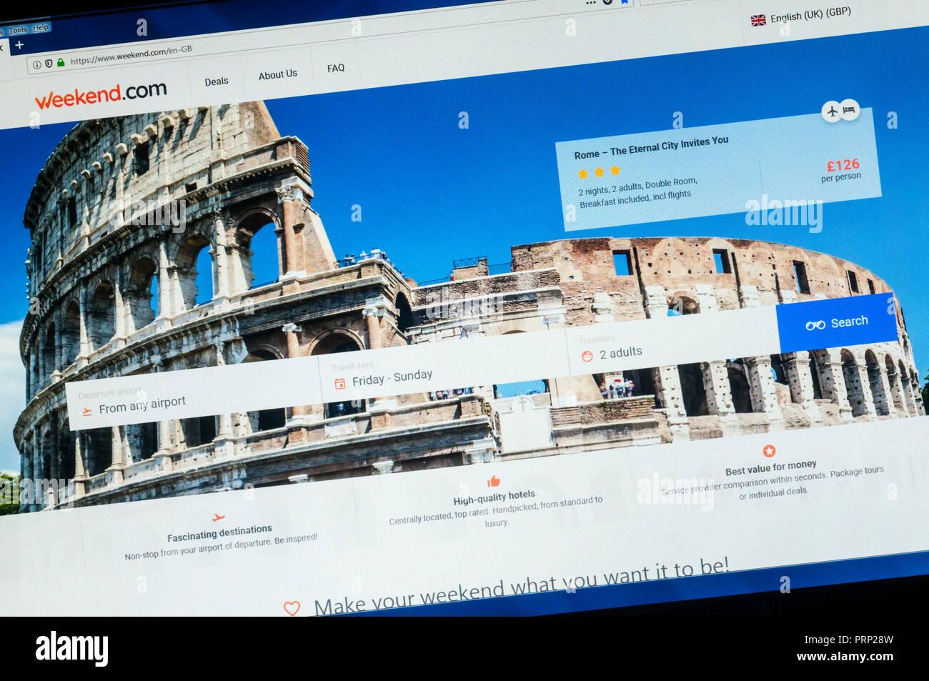 Página de inicio del sitio web de reserva vacaciones Weekend.com. Imagen De Stock