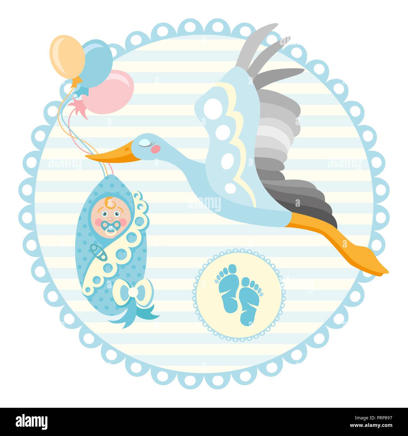 Bastidor de baby shower. Cigüeña con un lindo bebé en una bolsa. Es un chico Baby Boy anuncio Plantilla de tarjeta. Lugar para el texto. Foto de stock