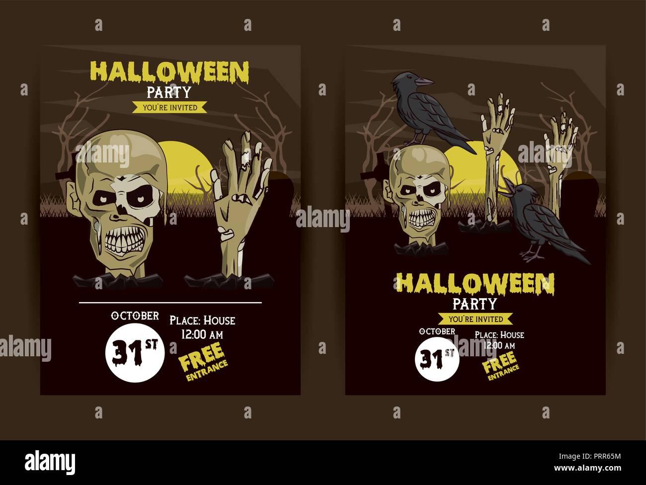 Conjunto De Tarjetas De Invitación A Fiesta De Halloween