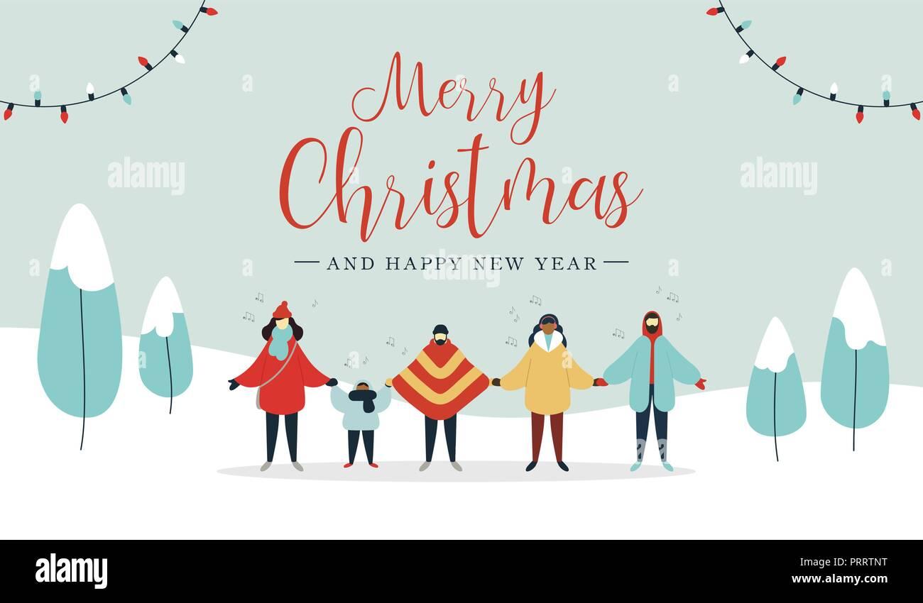 Villacinco Feliz Navidad.Feliz Navidad Y Feliz Ano Nuevo Ilustracion De Diverso Grupo