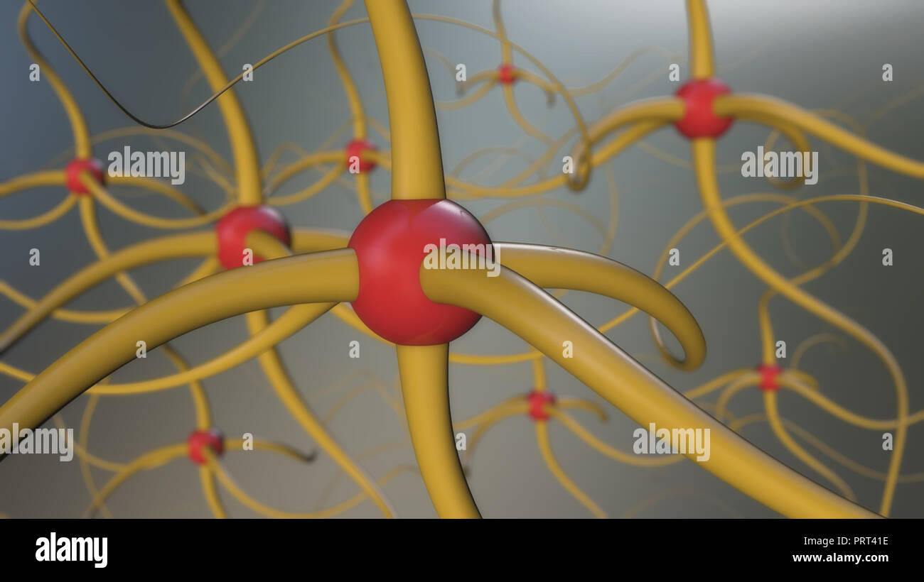 Sinapsis cerebrales entre las neuronas cerebrales Imagen De Stock