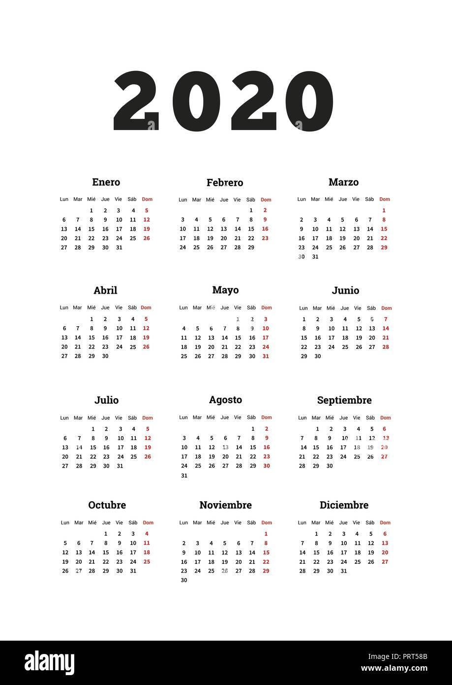 Calendario Del Ano 2020 En Espanol.Ano 2020 Calendario Simple En Espanol Tamano A4 Hoja