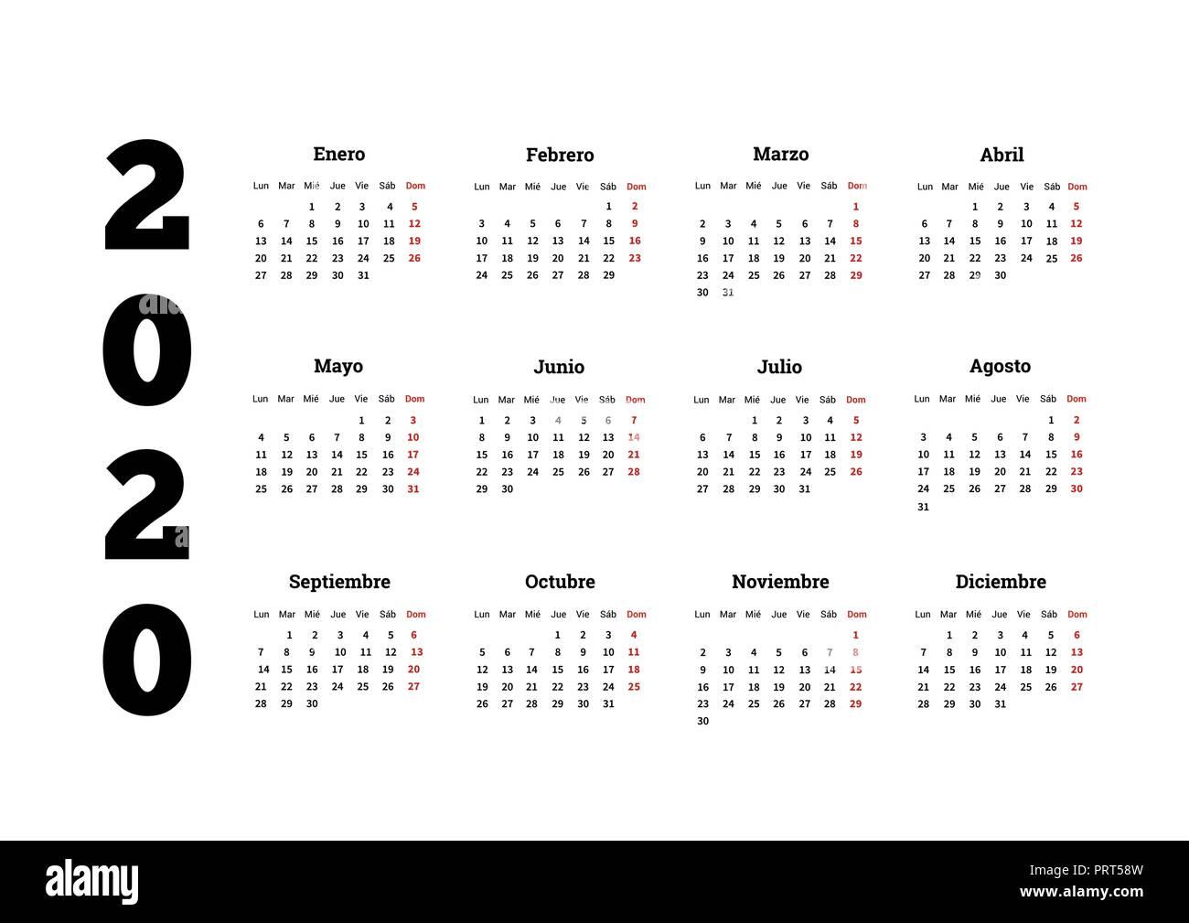 Calendario Del Ano 2020 En Espanol.Ano 2020 Calendario Simple En Espanol Aislado En Blanco