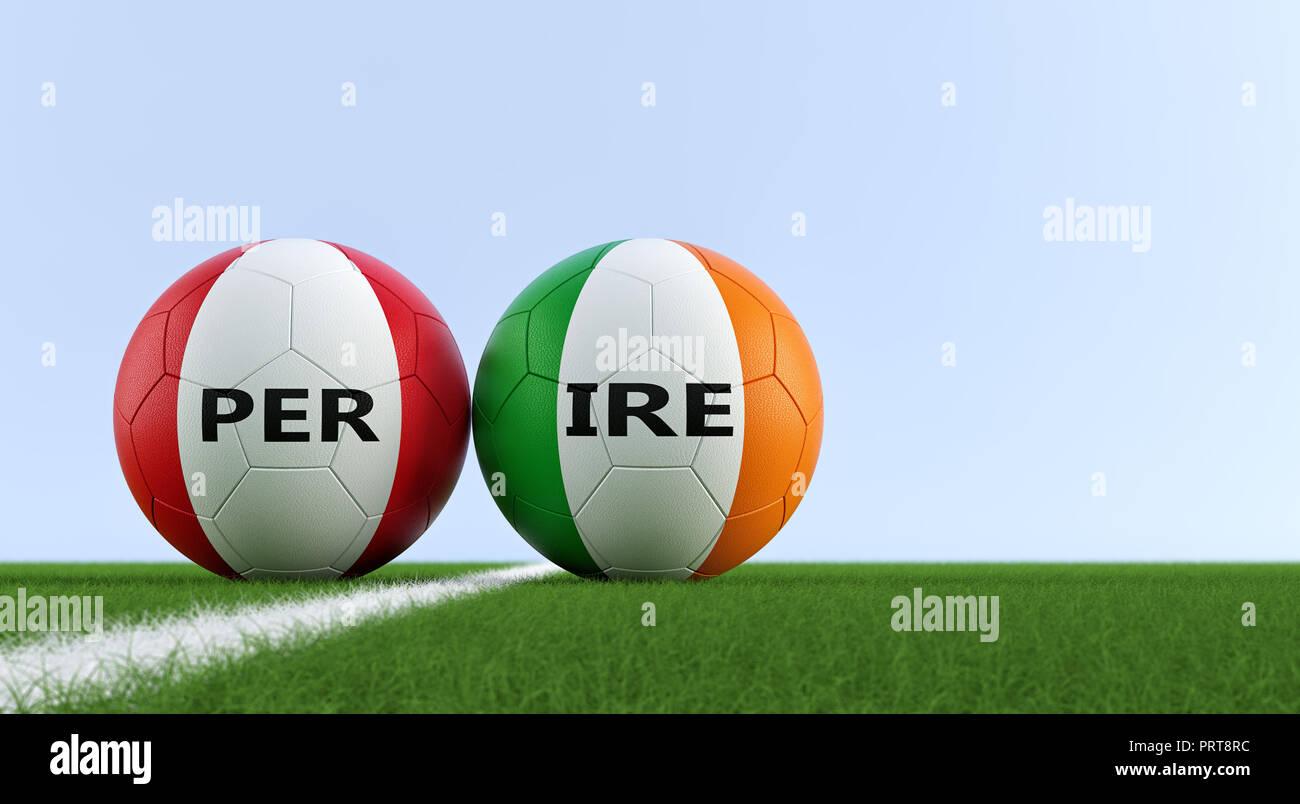 Perú Soccer Match - pelotas de fútbol en Irlanda y Perú colores nacionales  en un campo de fútbol. Copie el espacio en el lado derecho - 3D Rendering 4e34dd82d879f