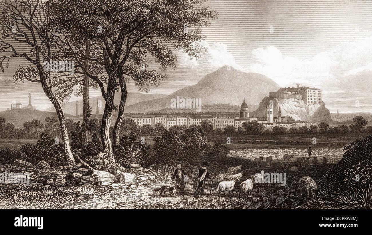Vista desde Craigleith, Edimburgo, Escocia, del siglo xix, desde la Atenas moderna por Th. H. Pastor Imagen De Stock