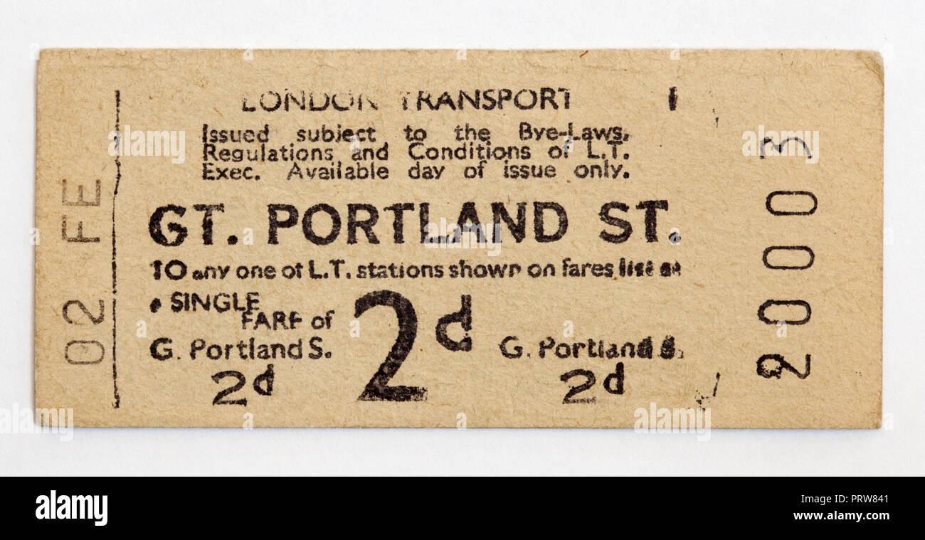 Vintage 1950 Londres - billete de metro de Great Portland Street Station Foto de stock