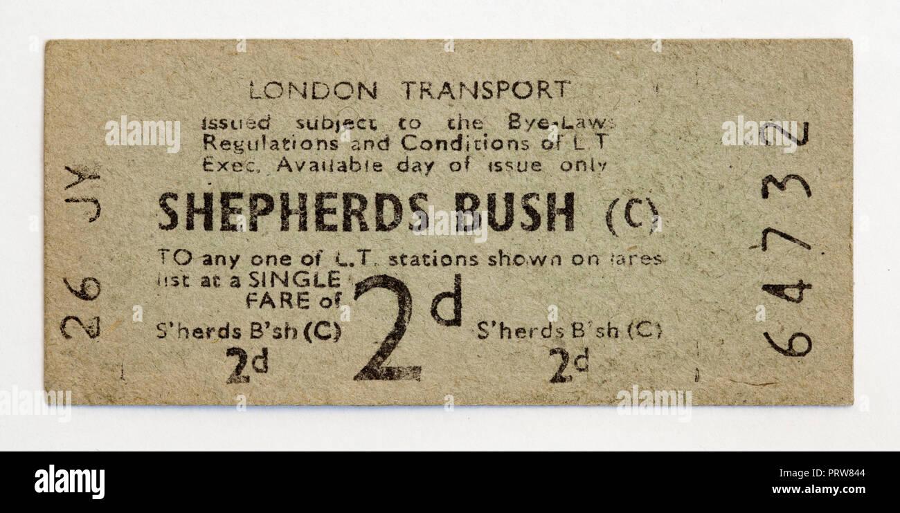 Vintage 1950 Londres billete de metro - estación de Shepherds Bush. Foto de stock