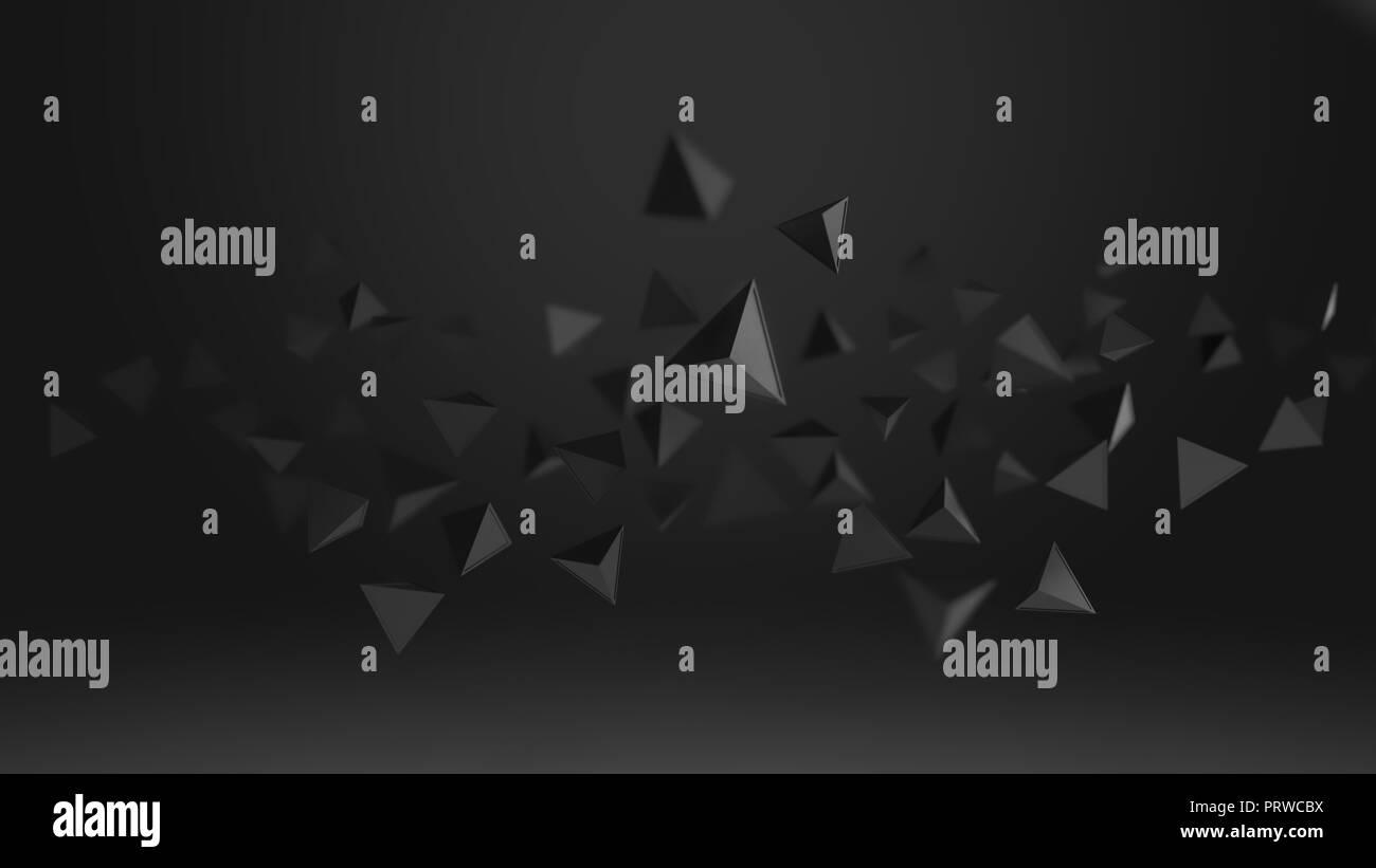 Representación 3D de formas geométricas triángulo abstracto , bajo llave y antecedentes de enfoque seleccionado . Imagen De Stock