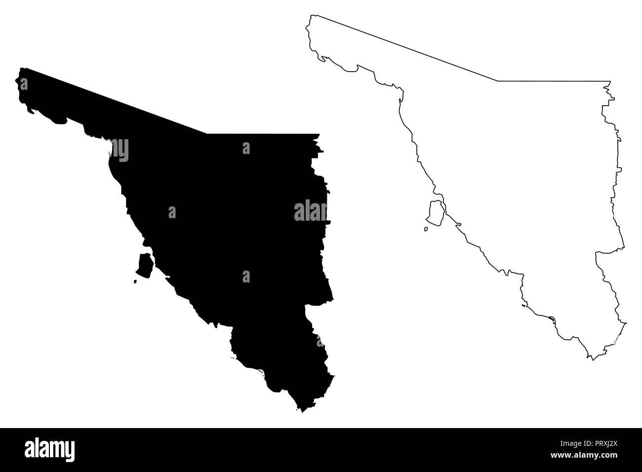 Sonora Estados Unidos Mexicanos México República Federal Mapa