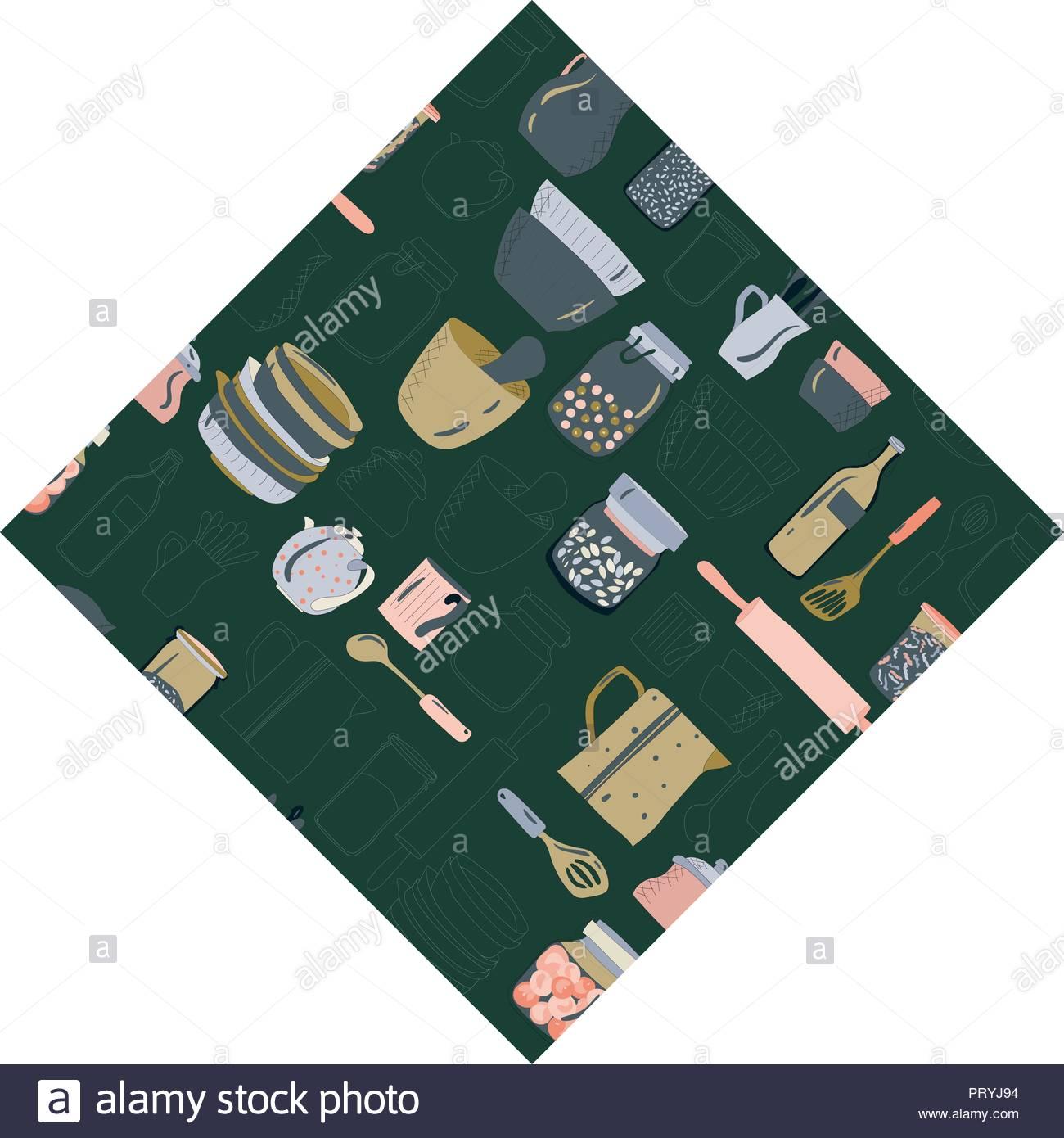 Colorido Platos Utensilios De Cocina Platos Tazas Y Teteras
