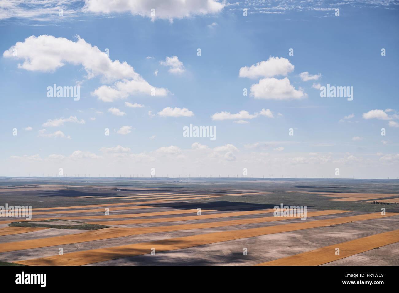 Ee.Uu., fotografía aérea del contorno la agricultura después de la cosecha, en el oeste de Nebraska Imagen De Stock