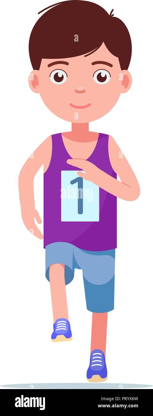 Ilustracion Vectorial De Dibujos Animados Nino Corriendo Una Maraton Imagen Vector De Stock Alamy
