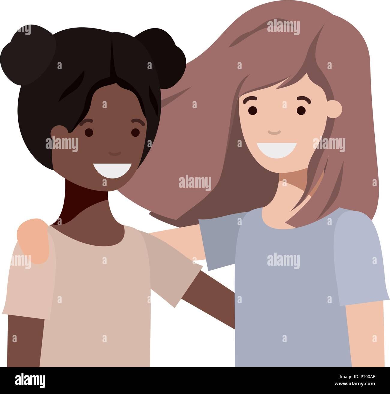 Las niñas adolescentes amigable etnia caracteres Imagen De Stock