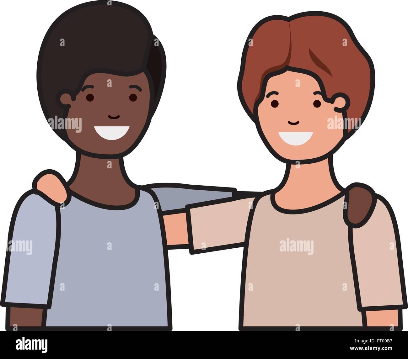 Muchachos adolescentes amigable etnia caracteres Imagen De Stock
