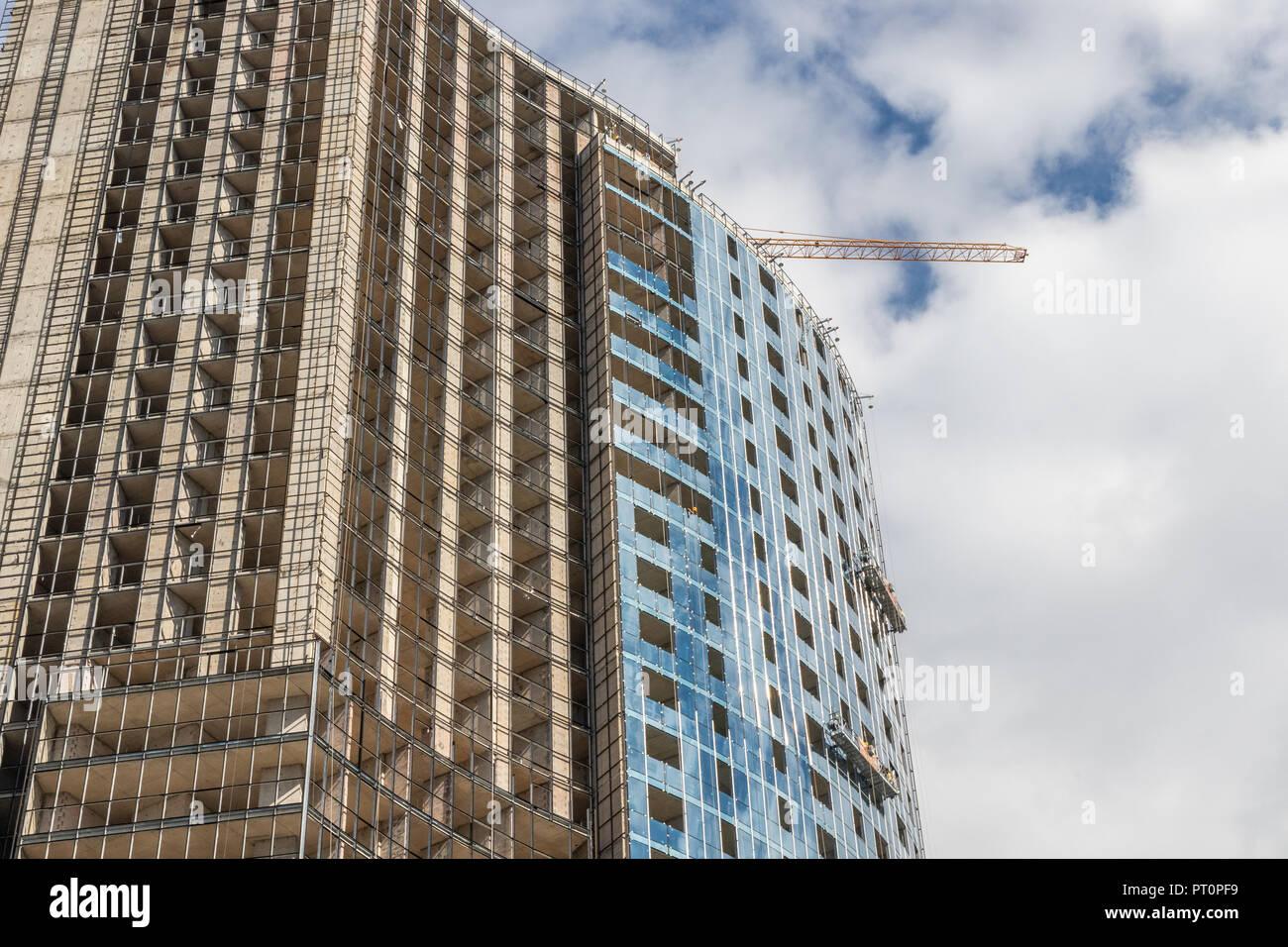 Los edificios en proceso de construcción en el complejo del Mar Negro de Batumi, Adjaria, Georgia Foto de stock