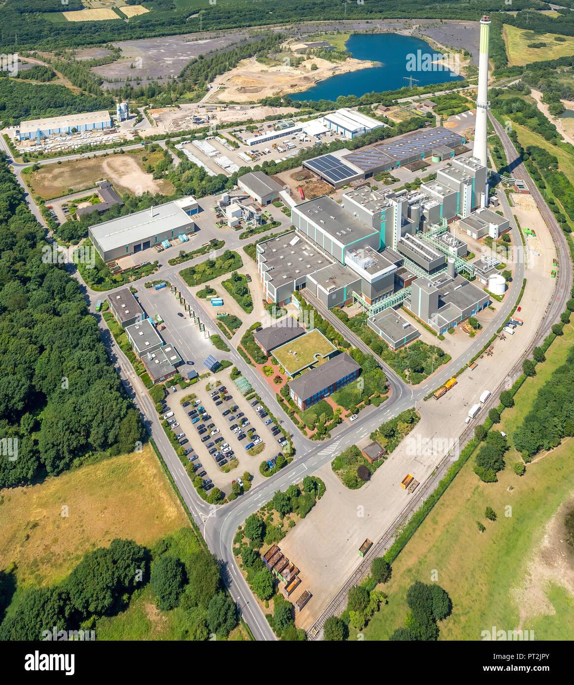 Centro de disposición de residuos Asdonkshof, empresa de gestión de residuos, la incineración de residuos, Graftstraße, Elskes Transportbeton GmbH & Co. KG Elskes Fertigteile GmbH & Co. KG, Kamp-Lintfort, área de Ruhr, Renania del Norte-Westfalia, Alemania Imagen De Stock