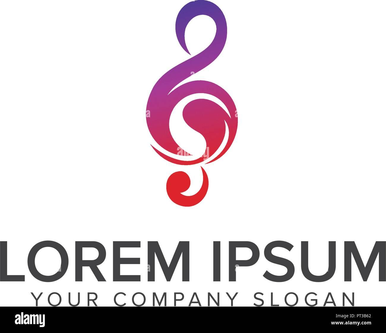 El Concepto De Diseño Del Logotipo De Tonos Musicales Plantilla