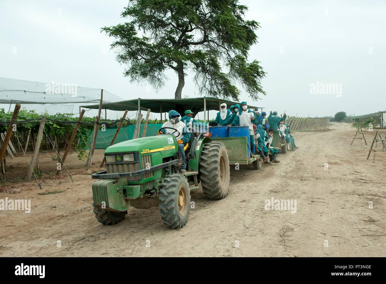 Tractor con un tanque para el transporte de personal. Foto de stock
