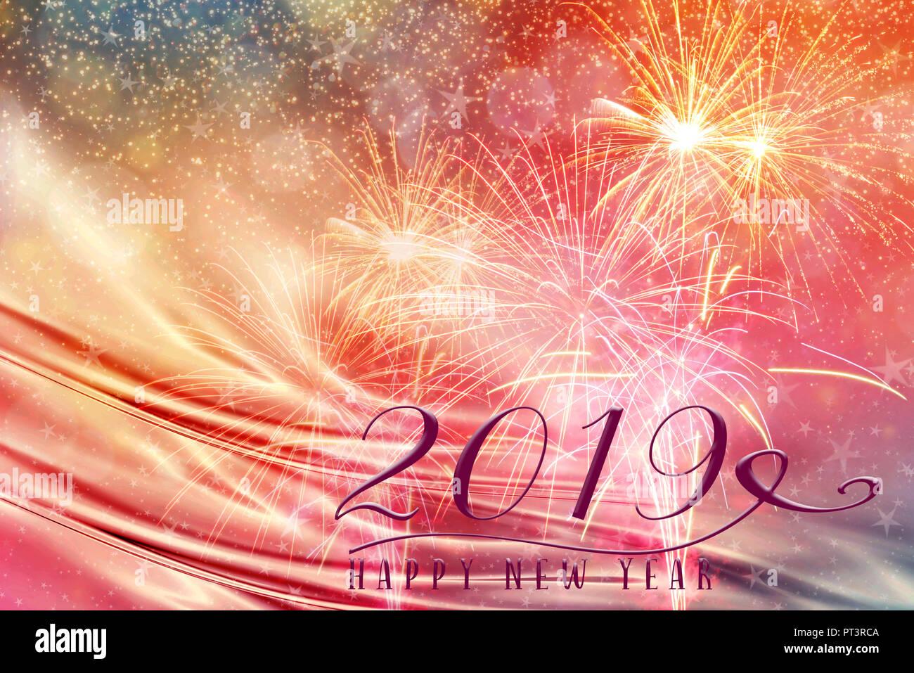 Fiesta De Ano Nuevo 2019 Con Fuegos Artificiales De Fondo Y