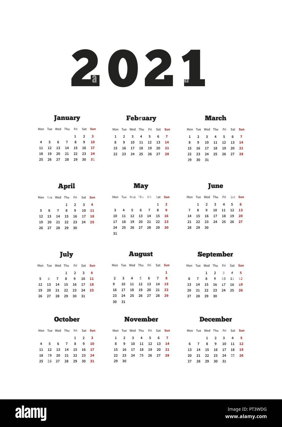 Calendario del año 2021 con la semana a partir del lunes, hoja