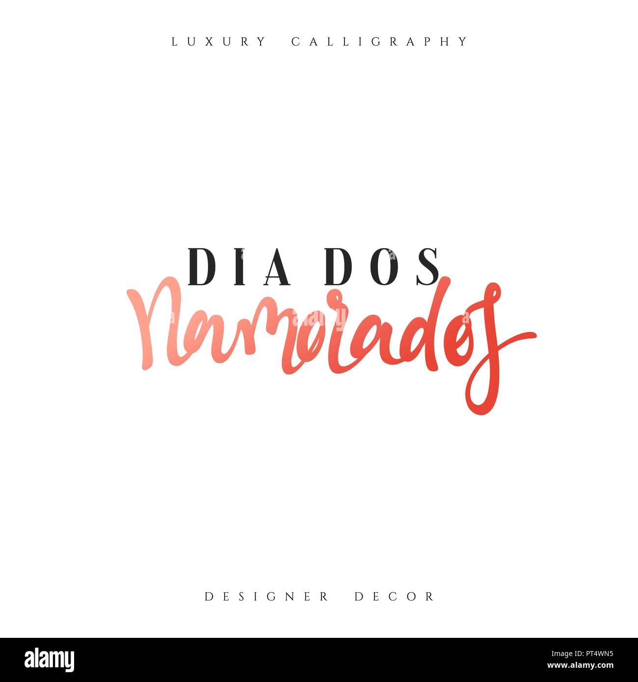 Dia Dos Namorados Elegante Moderno Y De Lujo En Caligrafía