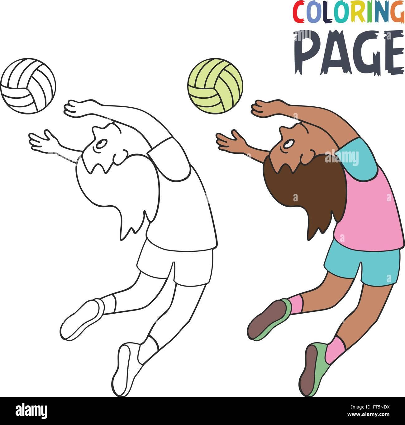 Página para colorear con la mujer volley ball jugador cartoon Imagen De  Stock 3e3f7694b0c66