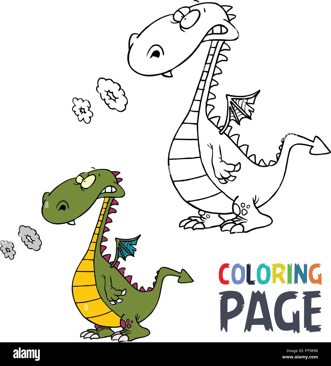 Página Para Colorear Dibujos Animados Dinosaurios Ilustración Del