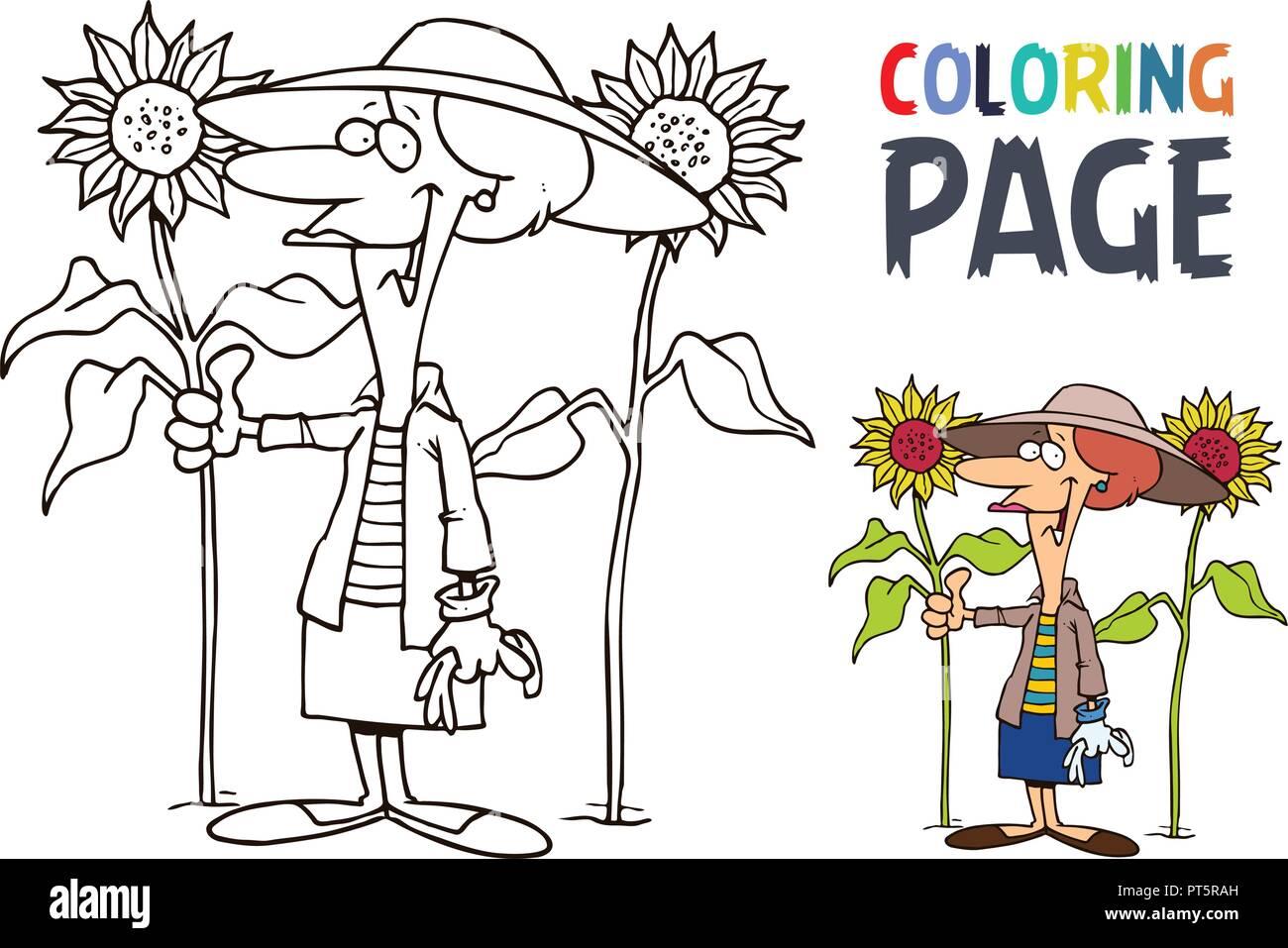 Abuela Y Girasol Página Para Colorear Dibujos Animados Ilustración