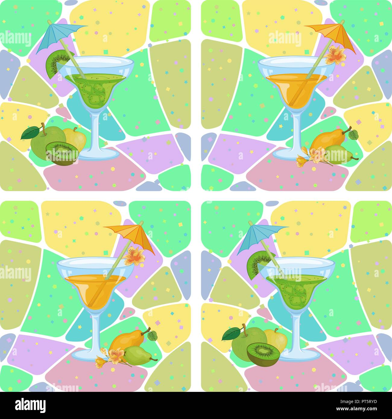 Antecedentes sin fisuras, vasos con bebida y fruta, manzanas, Kiwis, peras y patrones abstractos. Eps10, contiene transparencias. Vector Imagen De Stock