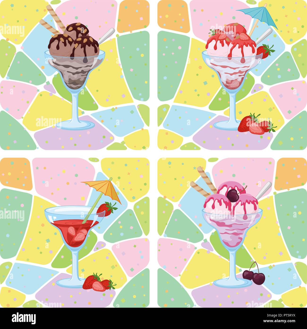 Antecedentes sin fisuras, gafas con helado, fresas, cerezas y bayas de patrón abstracto. Eps10, contiene transparencias. Vector Imagen De Stock