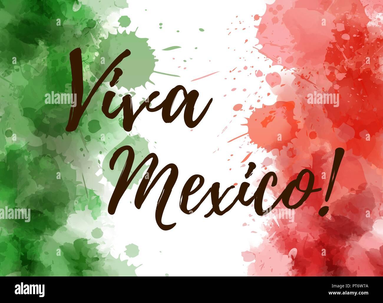 Viva México Agua Coloreado A Fondo Con Diseño Grunge