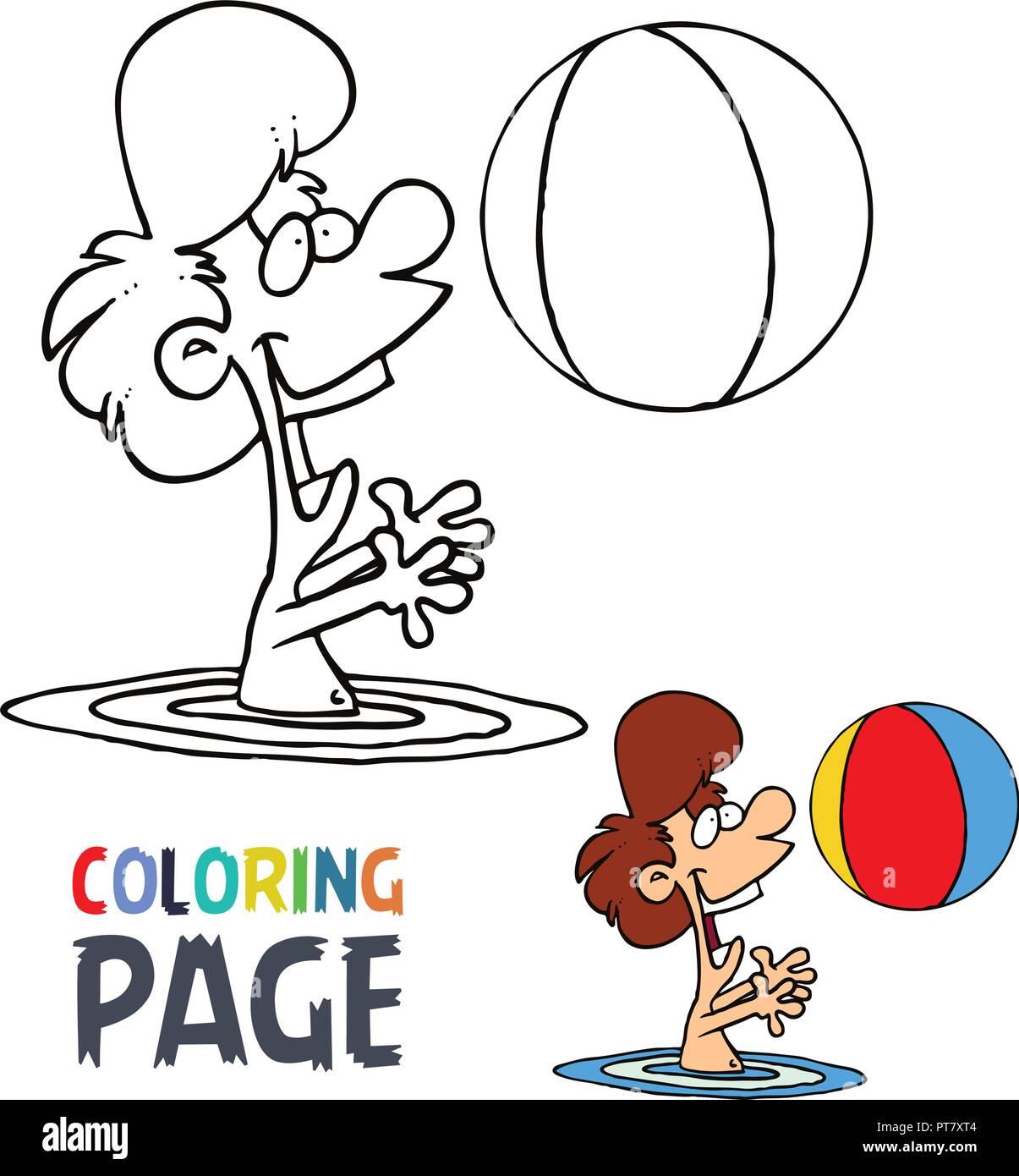 Niña Jugando Pelota En Agua Página Para Colorear Dibujos Animados