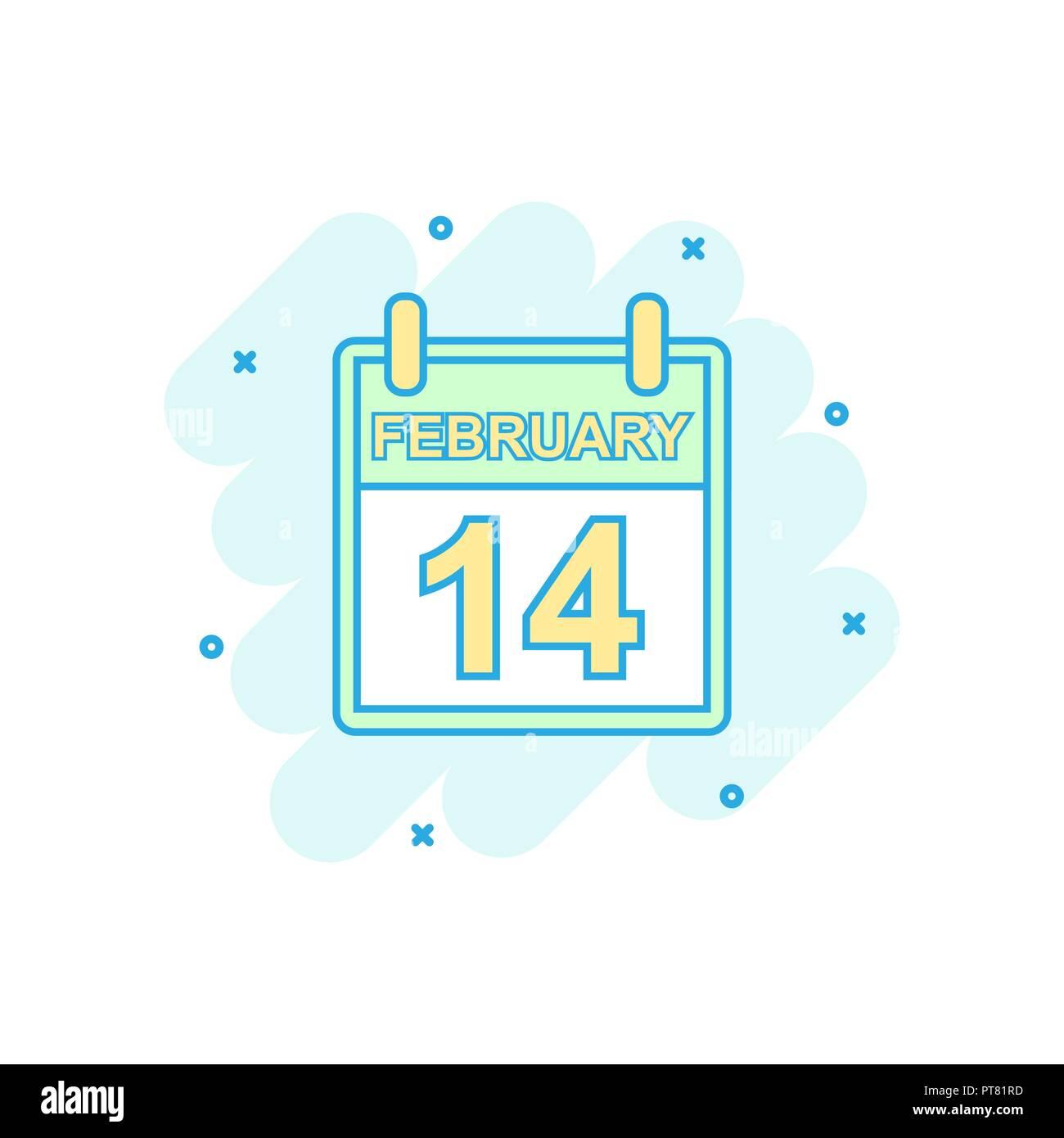 Color De Dibujos Animados Icono De Calendario El 14 De Febrero En El