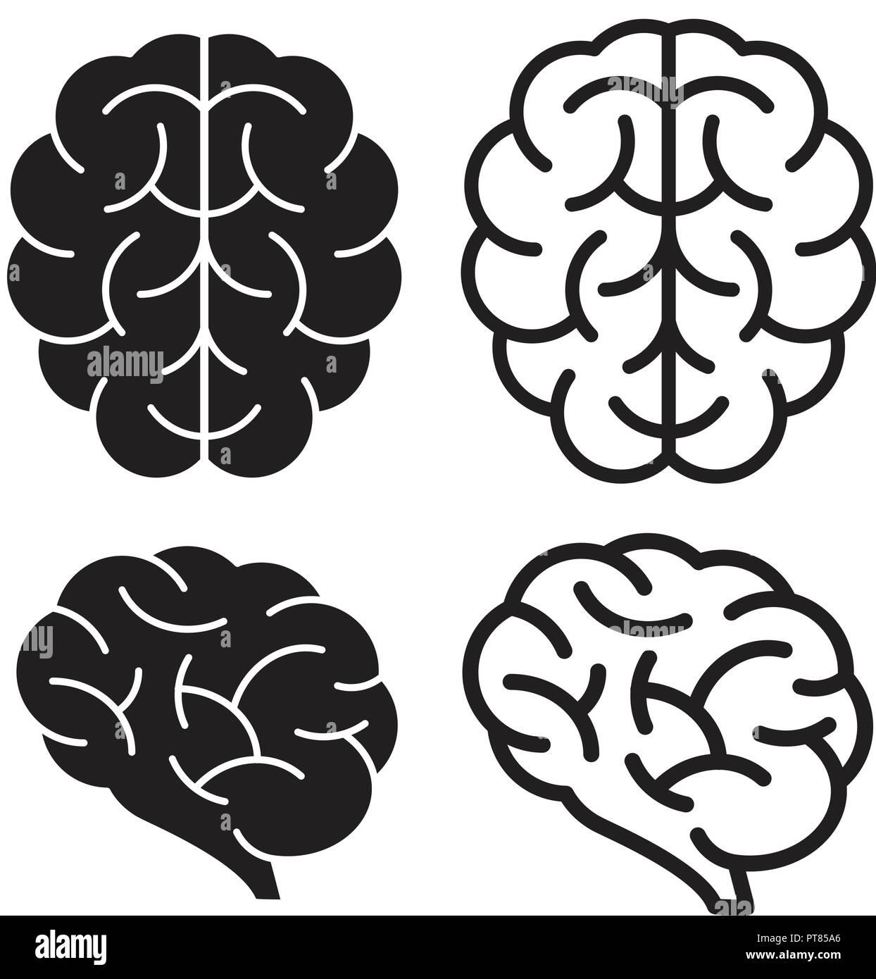 Vector iconos del cerebro humano aislado sobre fondo blanco para la psicología salud ilustraciones. línea delgada cerebro diseño girus (flecha) Imagen De Stock