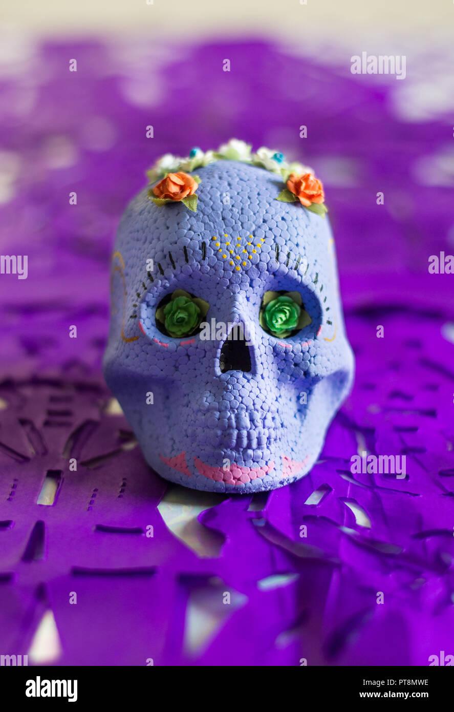Violeta El Día De Los Muertos De Calaveras De Azúcar Con