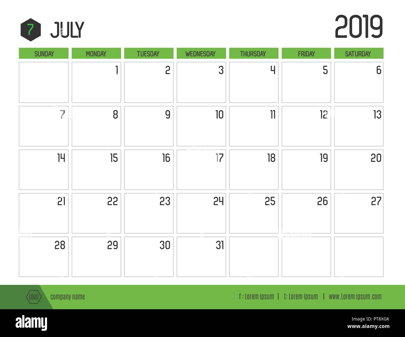 Calendario 2019 Julio.Vector De Verde Moderno Calendario 2019 Julio En Simple
