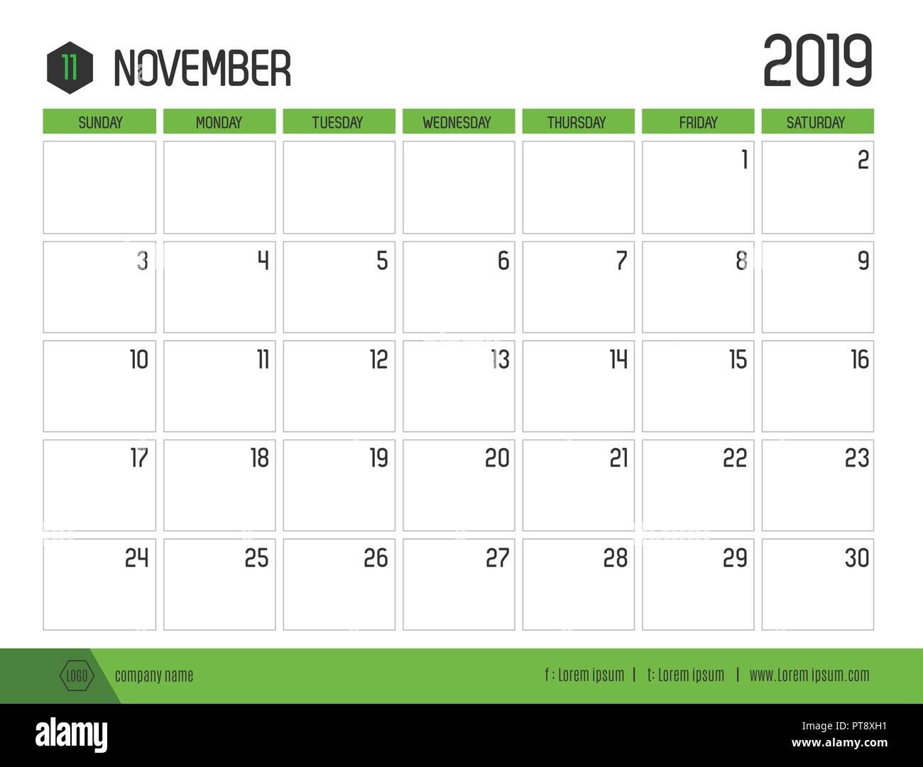 Calendario Noviembre 2019.Vector De Verde Moderno Calendario 2019 Noviembre En Simple