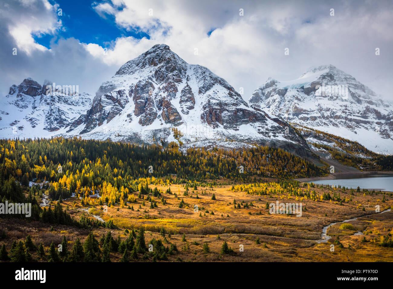 Monte Assiniboine Provincial Park es un parque provincial en British Columbia, Canadá, situado alrededor del monte Assiniboine. Imagen De Stock