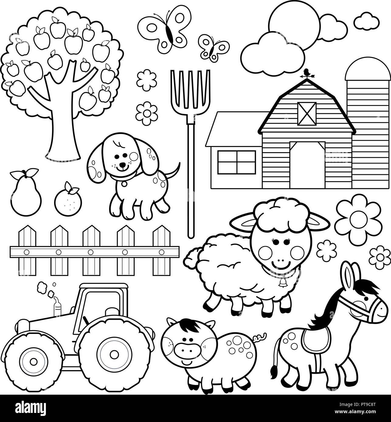 Animales De Granja Colección De Ilustraciones Vectoriales